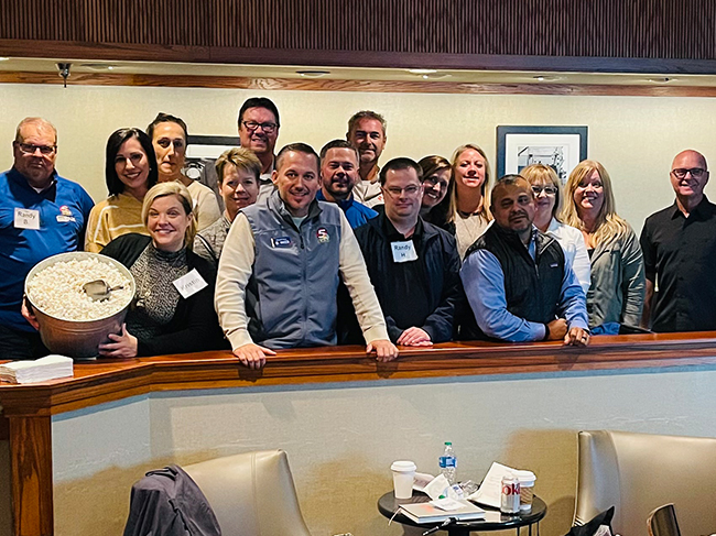 Derron with the sales teams at Gray Television
